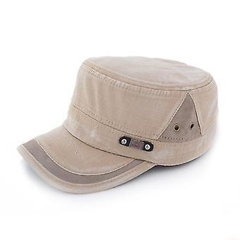 Adjustable Flat Military Hat, Men Women Baseball Cap(Light Brown)