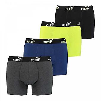PUMA Everyday Comfort Cotton Stretch 4 kpl boksereita, Harmaa Melange / keltainen, Keskikokoinen