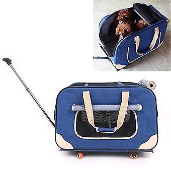 DODOPET Outdoor tragbare faltbare vier Rollen Katze Hund Haustier Träger Tasche Draw Bar Box (blau)