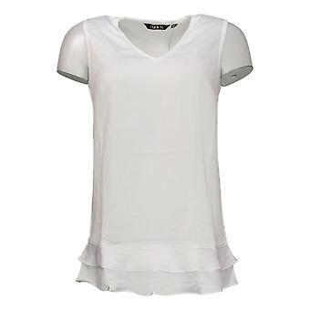 IMAN Global Chic Women's Top Tiered-Hem Tank White 691972