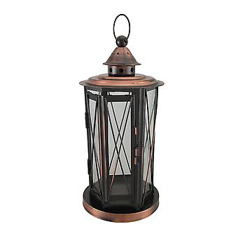 Polished Antique Copper Finish Metal and Glass Candle Lantern