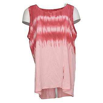 Modern Soul Women's Plus Printed Sleeveless Scoop Nk Tank Top Pink 689511
