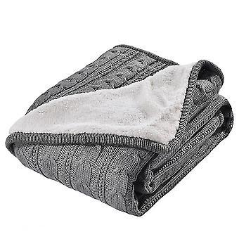 Tepper lammeull myk varm vinter håndlaget strikket teppe 120x180cm grå
