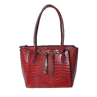 Texturált tote táska függő díszekkel Mágneses lezárás 39x14.5x30cm Burgundi