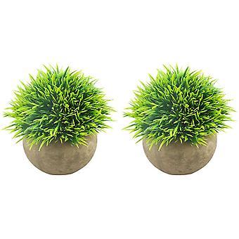 מיני צמחים מלאכותיים פלסטיק דשא ירוק מזויף שיחי צמחים