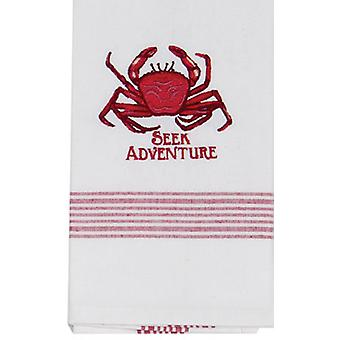 Crab Seek Adventure Coastal 28 Inch Embroidered Kitchen Tea Towel Cotton Kay Dee