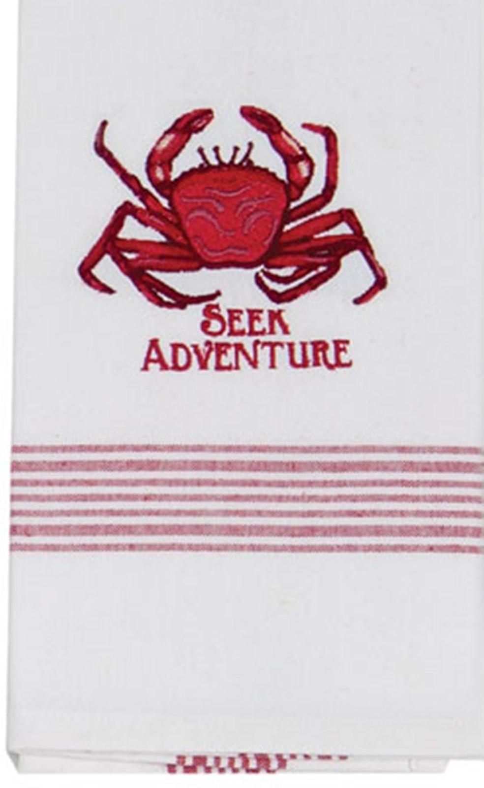 Crab Seek Adventure Coastal 28 Inch Embroidered Kitchen Tea Towel Cotton Kay Dee