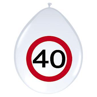 Balão de balões 8 St tráfego sinal número 40 aniversário decoração 30 cm