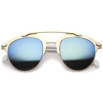 Modern Fashion metaal dubbele brug Mirror Lens Pantos Aviator zonnebril 50mm