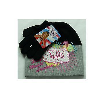 Dziewczyn Disney Violetta 2 częściowy zestaw Czapka kapelusz & rękawiczki zimowe