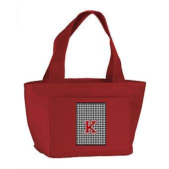 Lettre K Monogram - Houndstooth noir école isotherme à fermeture à glissière lavable et Sty