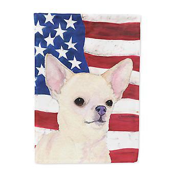 Carolines Treasures  SS4228-FLAG-PARENT USA American Flag with Chihuahua Flag