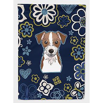 Carolines Treasures  BB5053GF Blue Flowers Jack Russell Terrier Flag Garden Size