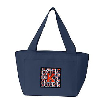 Bokstaven K fotboll Orange, blått och vitt Lunch väska
