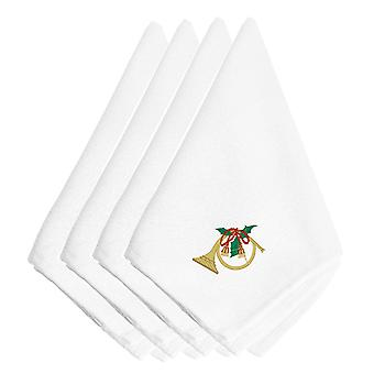 Christmas French Horn Embroidered Napkins Set of 4
