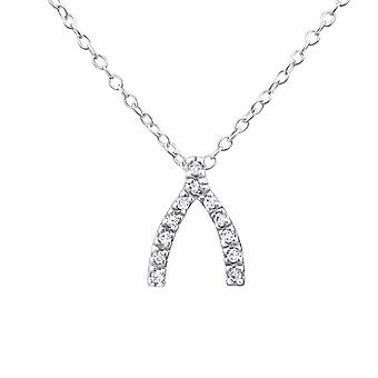 Wishbone - 925 Sterling Silver Jewelled Necklaces - W19299X