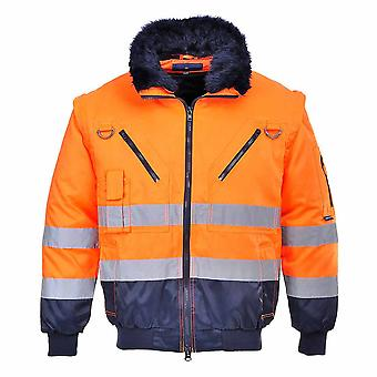 Portwest - Hi-Vis All-Weather 3-in-1 Warm Luxury Fur Lined Outdoor Pilot Jacket