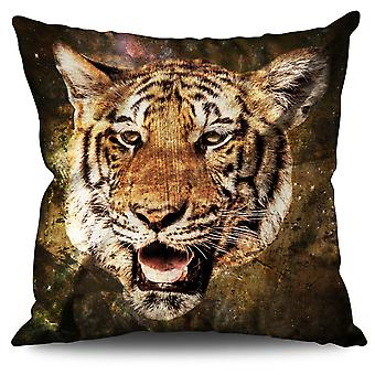 Tiger Beast Eye Linen Cushion 30cm x 30cm | Wellcoda