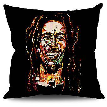 Célèbre toile de lin Rasta Bob Marley coussin 30 x 30 cm | Wellcoda