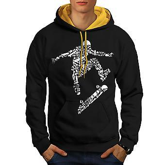 Skateboard Trick Sport Men Black (Gold Hood)Contrast Hoodie | Wellcoda