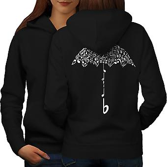 Umbrella Note Music Music Women BlackHoodie Back | Wellcoda