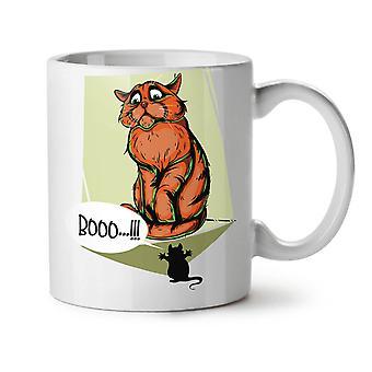 Cat Terrified Mouse Funny NEW White Tea Coffee Ceramic Mug 11 oz | Wellcoda