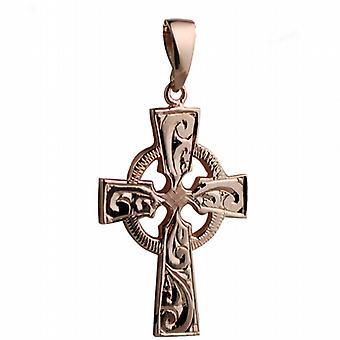 9ct Rose Gold 35x24mm hånd gravert keltisk kors med kausjon