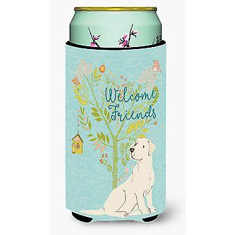 Welcome Friends Yellow Labrador Retriever Tall Boy Beverage Insulator Hugger
