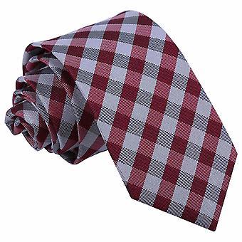 Ciemny czerwony wzór wyboru wąski krawat