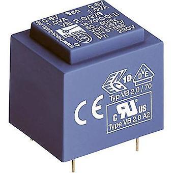 PCB mount transformer 1 x 230 V 1 x 12 V AC 1 VA 83 mA VB 1,0/1/12 Block