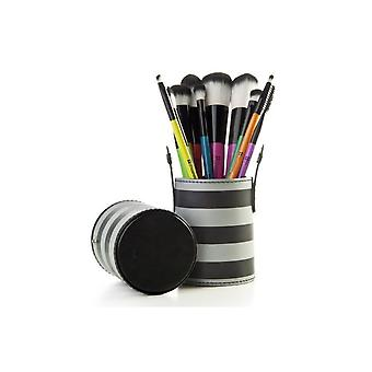 10 Make Up Brushes Cup Set - Two Colours Black/Grey Striped Synthetic Hair Black Aluminium Ferrule Natural Wood Handle Leather Cup