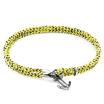 Anchor & Crew Yellow Noir Brighton Silver and Rope Bracelet