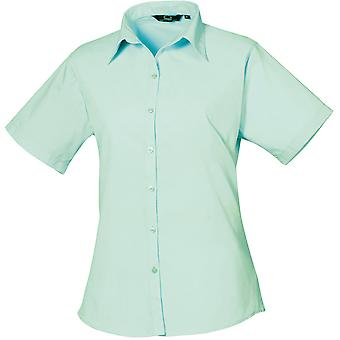 Premier Womens/Ladies Poplin Polycotton Short Sleeve Corporate Blouse
