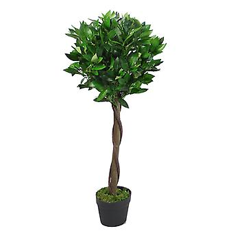 90cm (3ft) Twist Natural Trunk Artificial Topiary Bay Laurel Ball Tree