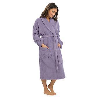 Дамы Супермягкие теплые 100% хлопковые обертывания поверх платка воротник халат Мелко-Сиреневый
