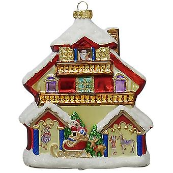 Christmas By Krebs Santas House Holiday Ornament Glass