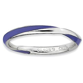 925 Sterling Silver Polished Twisted Purple Enameled 2.5 x 2.25mm Stackable Ring Jewelry Gifts for Women - Ring Size: 5