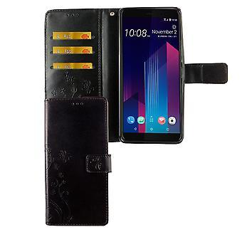 HTC U12 + pluss telefonveske beskyttende etui deksel flip case kort skuff svart