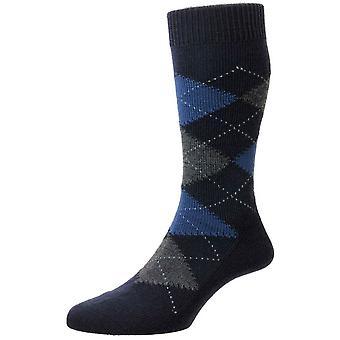 Pantherella Racton Argyle Merino Wool Socks - Dark Navy