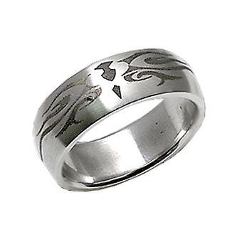 Stainless Steel Ring, Mat Metal, Tribal