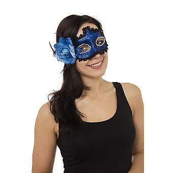 Blauw gevlochten Eyemask met kant bloem