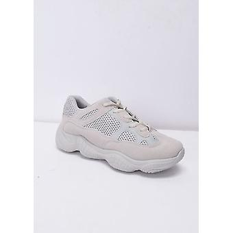 Faux Suede Panel Chunky Trainers Nude Beige