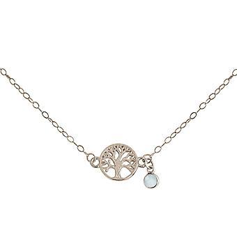 Gemshine YOGA halsband livets träd och Seagreen Chalcedony i 925 silver