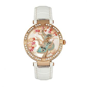 Bertha Mia Mother-Of-Pearl Leather-Band Watch - White