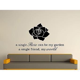 Una sola rosa arte etiqueta de la pared - negro