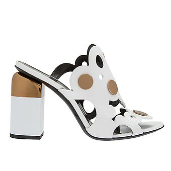 Pierre Hardy Md01leatherpennywhite Women's White Leather Sandals