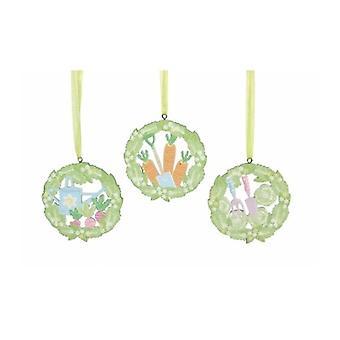 3 decoraciones de Pascua feliz de calado surtidos por Gisela Graham