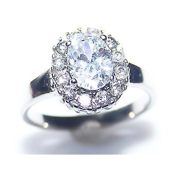 Ah! Sieraden Dames Lab gemaakt ovale Diamond Ring