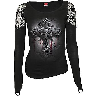 Spiral Direct Gothic CRUCIFIX - Shoulder Lace Top Black|Cross|Blood|Skulls|Wings