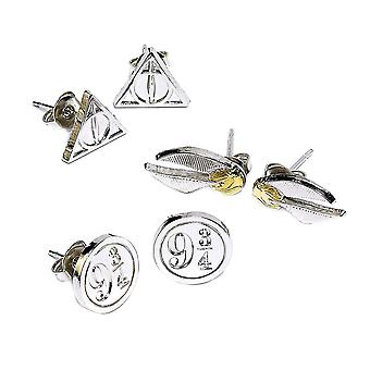 Harry Potter Silver Plated Deathly Hallows Stud Earring Set